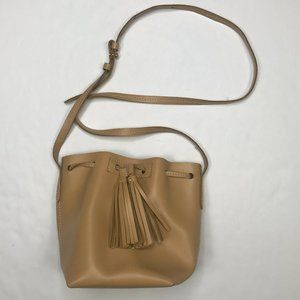 J. Crew small leather tan drawstring bucket bag